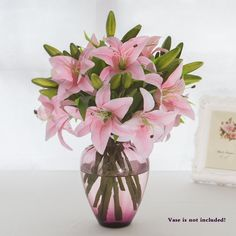 Artificial Tiger Lilies Bouquet 3 Heads New PU Flower for Home Wedding Floral Decor(Pink) * Read more reviews of the product by visiting the link on the image. (This is an affiliate link and I receive a commission for the sales)