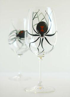 @She Ilovealways Black Widow Wine Glasses--Set of 2 Hand Painted Glasses. $48.00, via Etsy.