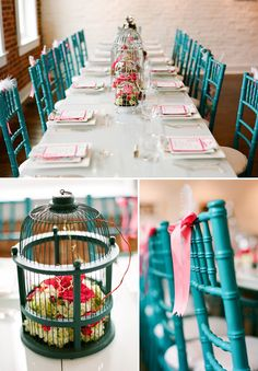 Turquoise rattan chairs