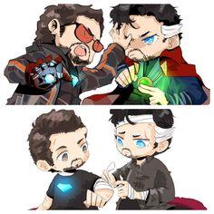 Stark & Strange: Before and After Marvel Venom, Marvel Dc Comics, Marvel Avengers, Funny Marvel Memes, Marvel Jokes, Loki, Marvel Couples, Ironman, Marvel Fan Art