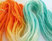 Life's a beach - Chunky hand spun merino yarn. Hand painted in glassy aqua to peach. Pure Australian 21 micron merino wool.