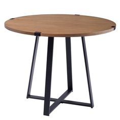 Walker Edison English Oak Composite Round Dining Table with Metal Base at Lowe's. Complete your kitchen or dining room with this round dining table. This small space friendly dining table features a stylish modern, urban industrial Industrial Round Dining Table, Trestle Dining Tables, Pedestal Dining Table, Modern Dining Table, Round Dining Table Small, Dining Room Furniture, Dining Room Table, Coastal Furniture, Diy Furniture