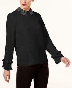 CeCe Embellished-Collar Blouse - Gray XL