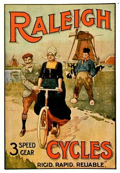 Old poster Raleigh Cycles Vintage Advertising Posters, Old Advertisements, Vintage Posters, Bike Poster, Poster Art, Images Vintage, Vintage Ads, Bicicletas Raleigh, Illustration Photo
