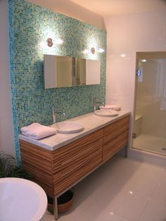 mid century bathroom tile Williams Creek Mid-Century Modern Master Bath WrightWorks LLC IN Mid Century Modern Bathroom, Modern Bathroom Tile, Mid Century Modern Design, Modern Bathrooms, Bathroom Ideas, Bathroom Vanities, Bathroom Wall, Bathroom Colors, 1950s Bathroom