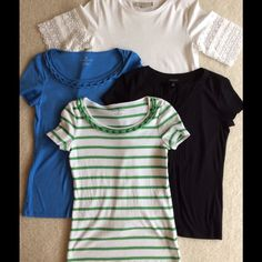 ❤️SUMMER TEE BUNDLE❤️ Set of four XS shirts.  One blue from Talbots, with roping around the front neckline.  One white, from Talbots,  with green stripes and roping around front neckline.  Both are 100% Pima cotton. One black  from Talbots, with notched neckline, 60% cotton, 40% modal.  One off-white with lace accents at sleeves.  From The Loft.  100% cotton.  Excellent condition. Tops