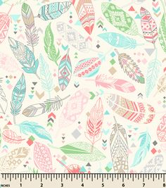 """Snuggle Flannel Fabric 43""""-Aztec Feathers Pastel"""