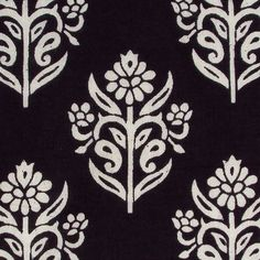 indian block print floral cotton fabric black and white motifs ...