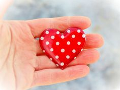 Ice-melting red heart brooch with dots unique enamel by CinkyLinky  #heart #jewelry #brooch #handmade #handpainted #red