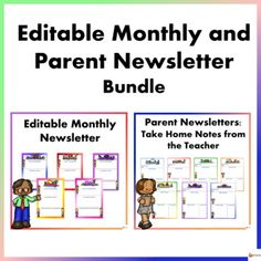 Editable Newsletter: Monthly and Parent Bundle Parent Newsletter, Newsletter Templates, Star Students, Important Dates, Get Excited, Upcoming Events, Highlight, Parenting, Teacher