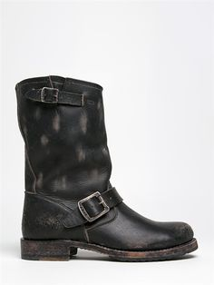 - Be ready for anything in the super cute Veronica by Frye. These moto boots are hand distressed with a sturdy leather upper. - Midcalf boots have buckles and straps for added detail and a low block h