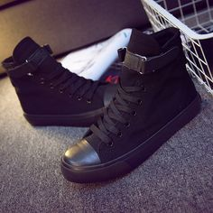 40f6d0d059188 Women canvas shoes for 2017 spring and autumn female High top pure black  classic vulcanize shoes footwear size 35 40-in Women s Vulcanize Shoes from  Shoes ...