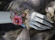Adagio romantic bold cuff with antique laces by FleursBoheme
