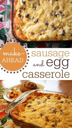 Make-Ahead Sausage & Egg Casserole: Easy brunch meal you can make the night before! Breakfast Casserole With Bread, Sausage Breakfast, Breakfast Dishes, Breakfast Recipes, Breakfast Ideas, Egg Bake With Bread, Sweet Breakfast, Brunch Egg Casserole, Overnight Breakfast Casserole