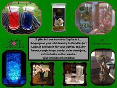 One of the best things about the candles from Jewelry In Candles is that they are the gifts that keep on giving! First a candle, then jewelry, and finally you have a beautiful glass container that you can re-purpose!  What would you use the jar for? http://www.jicwjendennis.com/