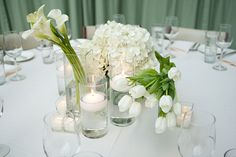@Victoria Summers, like the stemmed flowers just in a simple vase and the floating candles look?