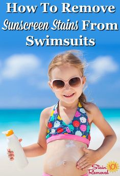 How to remove sunscreen stains from swimsuits {on Stain Removal 101} #WashingSwimsuits #LaundryTips #SunscreenStains