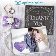 Beautiful personalised wedding thank you cards. Shop from any device: www.optimalprint.com/thank-you-cards/wedding