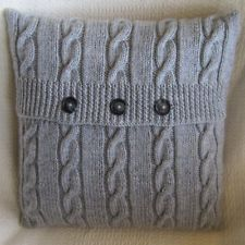 A4 KNITTING PATTERN ARAN STYLE CABLED KNITTED CUSHION COVER (4)