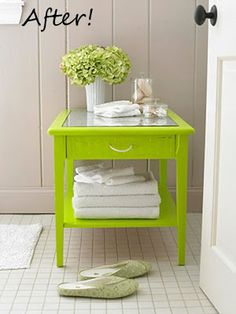 I love the color and mirrored top! ☆ Colorful Furniture Makeovers - Classy Clutter