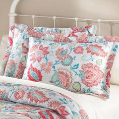 mainstays coral jacobean quilt collection