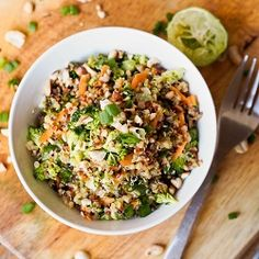 Too much lime for my lunch ladies - next time, I'll cook the quinoa a hint longer, reduce the lime juice, and add peanut butter. Thai Veggie Quinoa Bowl recipe is a perfect summer one pot meal. Full of crunchy flavors and a sharpy, tangy Asian inspired dressing. Vegan and Gluten-Free too.