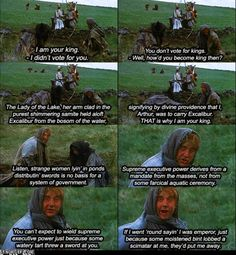 Monty Python :) --- my brother and I have this entire scene memorized because we are awesome like that