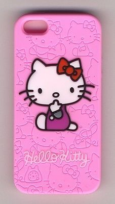 Hello Kitty Case Cover for iPhone 5/5S Pink patterned, soft silicone