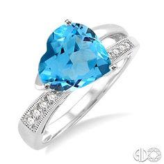 Heart Shape Blue Topaz and Diamond Ring in Sterling Silver #YesPlease