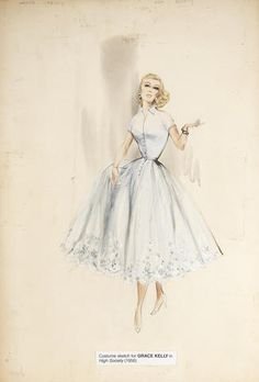 """A Grace Kelly costume design sketch from """"High Society"""""""