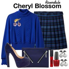 A fashion look from November 2017 featuring blue turtleneck, christian louboutin pumps and blue leather handbags. Browse and shop related looks. Riverdale Set, Riverdale Cheryl, Mode Outfits, Girly Outfits, Riverdale Fashion, Girl Fashion, Fashion Outfits, Fandom Fashion, Cheryl Blossom
