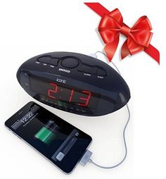 Alarm Clock Radio USB Charger Smartphones Tablets LED Digital Display Battery