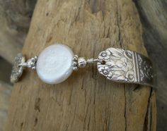 Spoon Bracelet - Arcadia 1938 Silver Plated Spoon Bracelet with Genuine Coin Pearl