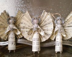 10 Beautiful Sheet Music Christmas Ornaments You Can Make Yourself, DIY and Crafts, Sheet Music, Clothespin, Angel Ornaments - (No tutorial/pic only). Music Christmas Ornaments, Christmas Crafts For Adults, Christmas Angels, Christmas Projects, Holiday Crafts, Musical Christmas Decorations, Tree Decorations, July Crafts, Birthday Decorations