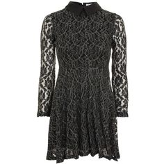Silver Metallic Lace Skater Dress by Oh My Love (1.015 CZK) ❤ liked on Polyvore featuring dresses, black, lace dress, skater dresses, long sleeve day dresses, long sleeve party dresses and party skater dresses