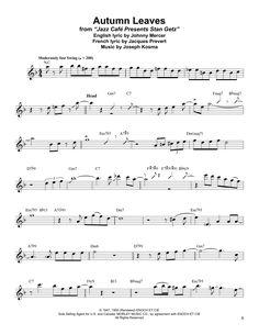 Stan Getz Autumn Leaves Sheet Music Notes Transcription Silent Night Sheet Music, Easy Sheet Music, Sheet Music Notes, Piano Sheet Music, Music Theory Guitar, Easy Guitar Songs, Tenor Sax, Saxophone, Cello