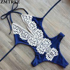 ZMTREE Marke 2017 Neueste Bandage Badeanzug Sets Sexy Bademode Frauen Spitze Monokini Bodysuit Weibliche Sommer Badeanzug