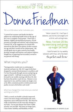 af017d29ce Member of the Month  Donna Friedman found the right Fitness Coach for her  and lost 20 lbs. Read her story. Commonwealth Sports Club · Real People.