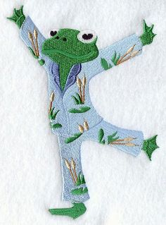 Machine Embroidery Designs at Embroidery Library! - A frog. In pajamas. Brother Embroidery Machine, Sewing Machine Embroidery, Free Machine Embroidery Designs, Embroidery Stitches, Crazy Quilting, Fabric Crafts, Sewing Crafts, Sewing Machine Projects, Quilt Block Patterns