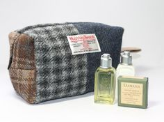 Washbag toiletries bag Harris Tweed patchwork by Enchantingcrafts