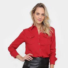 bae0f3934d Camisa Aishty Manga Longa Bolsos Feminina - Vermelho  CLIQUE EM VISITAR