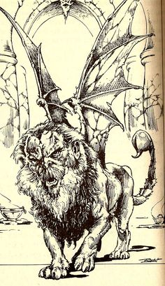 Fantasy Creatures, Mythical Creatures, Fighting Fantasy Books, Manticore, Dnd Monsters, Mermaids And Mermen, Fantasy Setting, Black White Art, High Fantasy
