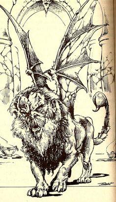 High Fantasy, Fantasy Art, Fighting Fantasy Books, Manticore, Dnd Monsters, Mermaids And Mermen, Black White Art, Fantasy Setting, Mythical Creatures