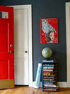 red door, red painting - love it  #home