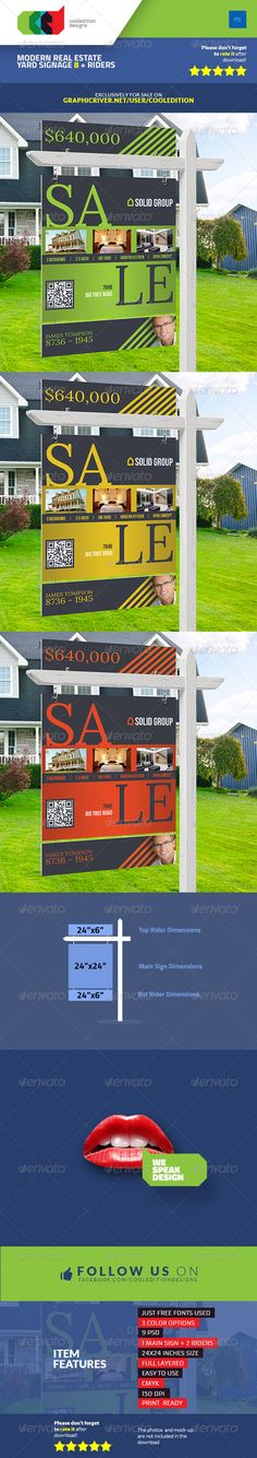 Modern Real Estate Yard Signage 8 + Riders Template #design Download: http://graphicriver.net/item/modern-real-estate-yard-signage-8-riders/7569906?ref=ksioks