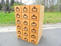 70er J. Karteikarten Schrank Schieberschrank Archiv Apotheken Karteikasten Holz