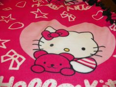 Hello Kitty  Fleece Blanket Pink  Light Pink with by Susieskorner, $30.00