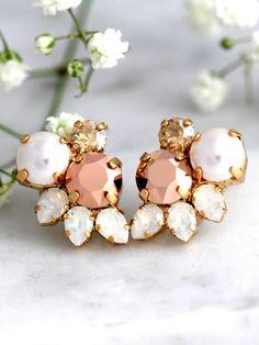 Rose Gold Earrings Bridal Rose Gold Earrings Cluster by iloniti  #rosegold…