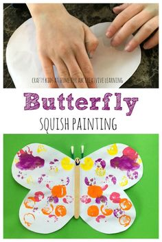 Butterfly squish painting craft for kids! Perfect for an easy fun and bright painting fun! - http://abccreativelearing.com