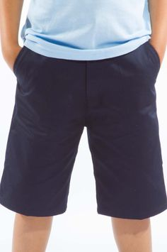 Twill Flat Front #School_uniform_Shorts with Adjustable Elastic Inside Waist. 2 Front Pockets and 2 Back Pockets.